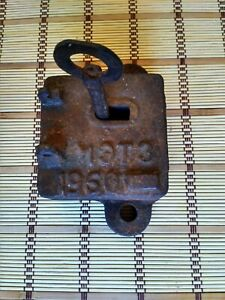 Castle. Vintage Soviet large lock with original key 60s. Old, rusty, door lock.