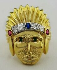INDIAN FACE Rubies, Blue Sapphires RING 14K GOLD ** FREE SHIPPING * BRAND NEW