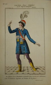 GRAVURE COULEUR COSTUME THEATRE HOMME ROUMANIE MONGATZ TRANSYLVANIE COMEDIE1820