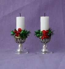 DOLLS HOUSE HANDMADE SILVER FILIGREE GLASS BOTTOM CHRISTMAS CANDLE STICKS