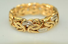 MENS TWO TONE GOLD VERMEIL STERLING SILVER BYZANTINE BAND RING SIZE 10.25