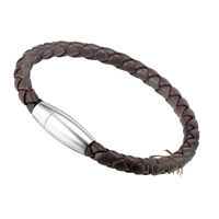 Men GENUINE LEATHER Black Brown Braided S.Steel Wristband Bracelets US045 ZZ9