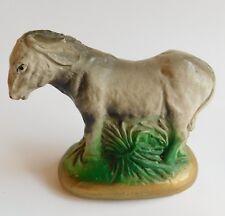 """Vintage Antique C1940's Chalk Ware Donkey Nativity Piece 3 1/4"""" High"""