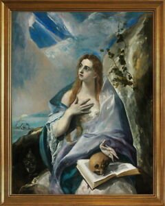 Classic Framed El Greco The Penitent Mary Magdalene Giclee Canvas Print