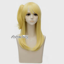 For Fairy Tail Lucy Heartfilia Yellow 50CM Wavy Anime Women Cosplay Wig+Ponytail