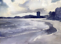 ORIGINAL OCEAN SEASCAPE PAINTING - WATERCOLOR AND WAX- 9 X 12 INCHES
