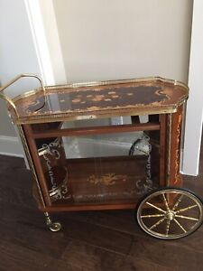 ITALIAN MOBILE BAR WITH STORAGE & SERVING TREY