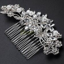 Silver Hair Comb Bridal Wedding Crystal Rhinestone Hair Accessories 10*5.5cm