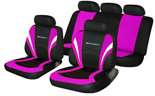 for MERCEDES-BENZ AUDI BMW Universal SPORTS Fabric Car Seat Covers Pink & Black