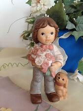 Goebel Nina & Marco ♥ Marco mit Hund und Blumenstrauß ♥ GEBURTSTAG ♥ wie NEU