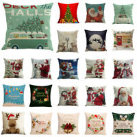 Happy Christmas Cushion Cover Square Cotton Pillow Case Waist Home Beding Decor