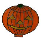 Vintage Real Stained Glass PUMPKIN JACK O LANTERN Halloween SUNCATCHER Handmade