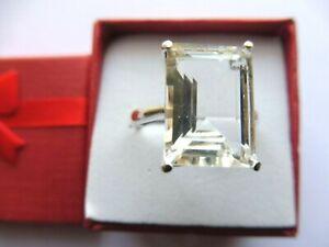 Bague superbe Cristal de Roche 14x10x8mm-réglable-Argent massif
