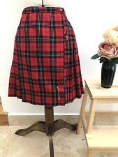 Vtg Retro Red Tartan Plaid Check Kilt Skirt Kilt Pin Punk School UK Size 14-16