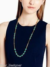 Kate Spade Gold Turquoise Dotted Line Scatter Necklace WBRU4935 NWT long chain