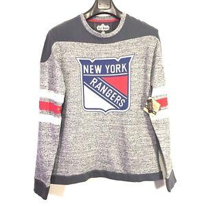 NEW YORK RANGERS Red Jacket Preston Crew Sweatshirt Logo Blue Gray S (MSRP $80)