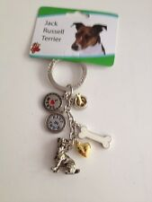 Jack Russell Key Chain With Charms From Little Gifts ~New~