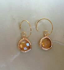 Citrine Earrings; Glass Gem Stone With A 14K Gold Wire Curled Hoop Back; Circle