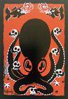 Clee Sobieski PRINT Tiki Octopus Aquatic Spooky Scary Halloween Skulls Aloha