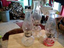 Lot, 3 Vtg Oil Kerosene Lamps w/2 Glass Chimneys –lamplight farms not matched