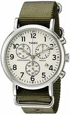 Timex Mens Weekender Chronograph INDIGLO Dial Olive Nylon Strap Watch