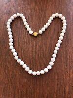 "Vintage Monet Necklace Designer Signed White Plastic Bead Costume 25"""
