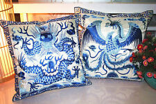 2pcs Chinese Blue And White Porcelain Embroidered Dragon Phoenix Cushion Covers