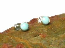 LARIMAR    Sterling  Silver  925   Earrings / STUDS  -  6 mm  -  Gift Boxed!