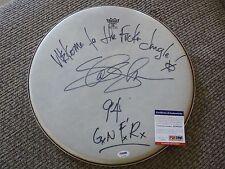 "Slash Guns & Roses Signed Autographed PSA Certified 15"" Drumhead  W Lyrics 1994"