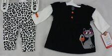 Halloween Infant Carter's Black White Shirt Leotard Pants Cat Size 3 months NWT