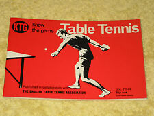KNOW THE GAME: TABLE TENNIS Jack Carrington PB 1972. Sporting skills development