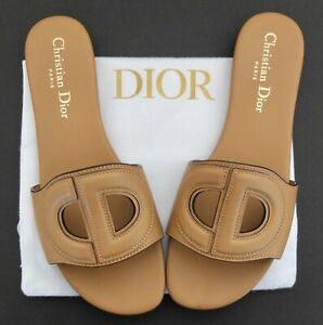 Christian Dior Tan Leather D-Club Logo Sandals Or Slides Size 36 1/2 With Bag