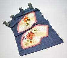 "Vtg Japanese Noren Doorway Door Curtain Indigo Shibori Silk Embroidery 31"" x 15"""