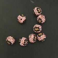 10mm Leopard Pattern Polymer Clay Rhinestone Shamballa Diso Crystal Ball Beads