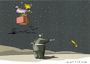 Postkarte Weihnachten Schnee Sternschnuppe Engel Geschenk  Mattiello - Wegweiser