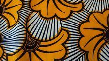 African Ankara 100% Cotton Print for Dress Making & Craft 6 Yards Orange & Beige