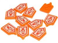 Lego 10 New Trans-Neon Orange Tiles 2 x 3 Pentagonal Nexo Power Shield Rock