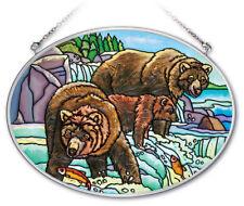 "AMIA Hand-Painted Glass Alaska Bears 5.25"" x 7"" SEE DETAILS"