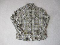 Wrangler Pearl Snap Shirt Size Adult Large Brown Plaid Cowboy Western Rodeo Mens