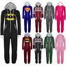 UNISEX ONESIE SUPERMAN BATMAN Hooded ZIP All In One MEN WOMENS Playsuit Jumpsuit