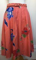 FLEURETTE by Fleur Wood Floral Apricot Print Silky Feel Belted A-Line Skirt 8