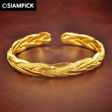 23K 24K Thai Baht Gold Plated Braid Bangle Bracelet Woman Jewelry Christmas Gift