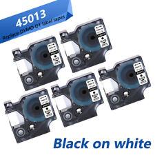 5PK Dymo D1 45013 Label Tape 12mm Black on White for Dymo LabelMananger 160 280