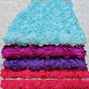 Anti-slip 3D Rose Flower Wedding Stage Floor Long Carpet Aisle Runner Mats Rugs
