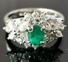 1.38TCW Vivid Green Emerald Round Marquise Diamond Platinum ring