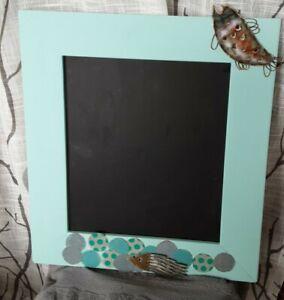 Chalkboard Black farmhouse frame blue green paintMessage board Sign fish design