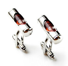 Red Level Cufflinks - Groomsmen Gift - Men's Jewelry - Gift Box