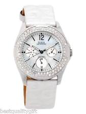 GUESS CHRONO LOGO WHITE PEARL LEATHER+CRYSTALS+MOP DIAL WATERPRO WATCH-G95432L