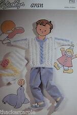 "Peter Pan aran knitting pattern 782 cable round neck sweater 46-66cm/18-26"""