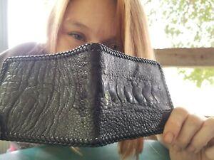 NEW Authentic BLACK OSTRICH SKIN Wallet bi Fold Men Billfold Original Slim NWOT